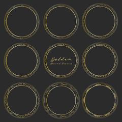 Set of golden round frames for decoration, Decorative round frames. Vector illustration.