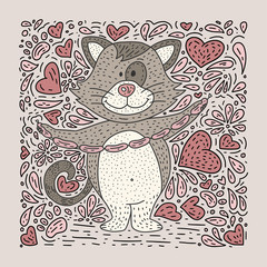 Cute vector illustration of a doodle hand drawn cat with sausages.