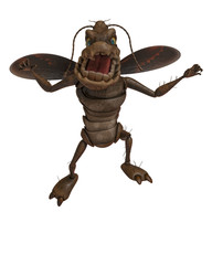 cockroach cartoon in white background
