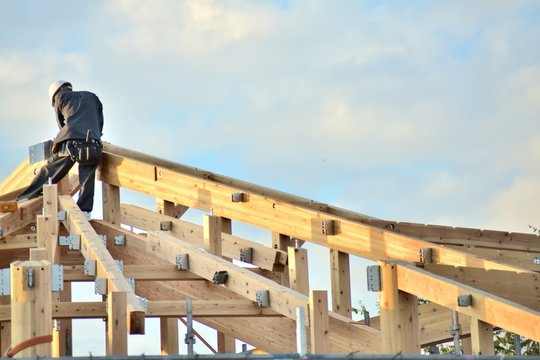 建築工事・木造建築・工事中