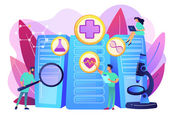 Doctors and personalized prescriptive analytics. Big data healthcare, personalized medicine, big data patient care, predictive analytics concept. Bright vibrant violet vector isolated illustration