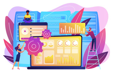 Laptop with data visualization software and developers working. Big data visualization, big data analytics, visualization software concept. Bright vibrant violet vector isolated illustration