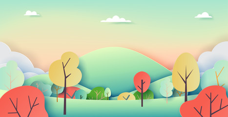 Nature landscape background paper art style with summer and autumn concept.Vector illustration.