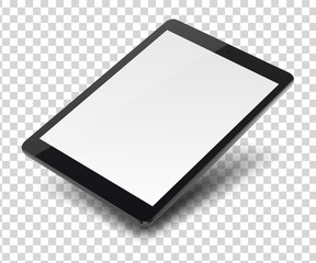 Tablet pc computer with blank screen on transparent background.