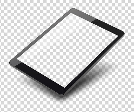 Tablet pc computer on transparent background.