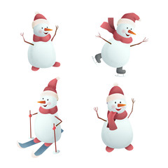 Christmas of set of cheerful snowmen. Snowman on skates, on skis. Isolated on white background. Vector illustration