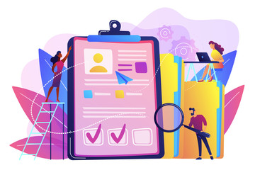Recruiters and managers searching for candidate in huge CV for position. Recruitment agency, human resources service, recruitment network concept. Bright vibrant violet vector isolated illustration