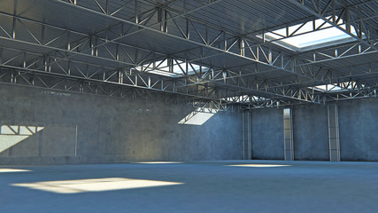 Empty warehouse. 3d illustration stone building with light