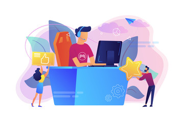 Professional e-sport player at desk playing video game and getting likes. E-sport, cybersport market, competitive computer gaming concept. Bright vibrant violet vector isolated illustration