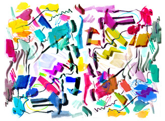 Bright color abstract painting in Memphis style.
