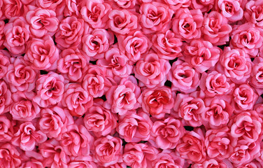 Artificial pink roses flowers background.