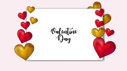 valentine day greeting template, valentine background with hearts