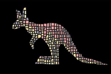 Hand drawn vector illustration in Mondriaan (Mondrian) style isolated pink kangaroo on a black background