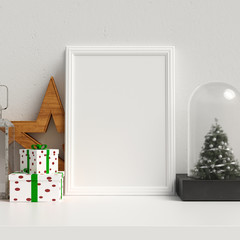Mock Up Poster Frame in Interior Scandinavian Christmas and Winter Decoration