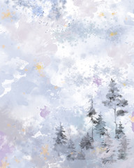 Empty Watercolor Textured Surface with Forest Scenic Group. Beautiful Watercolor Splashes and Gradients Space for Christmas, New Year, and Winter Holidays Print, Background, Design, and Decoration.