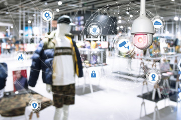 Fototapete - Machine Learning analytics identify person technology , Artificial intelligence ,Big data , iot concept. Cctv , security camera and face recognition people in smart city retail shop.