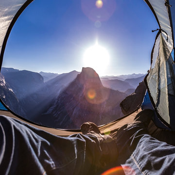 Half Dome seen from inside a tent at sunrise