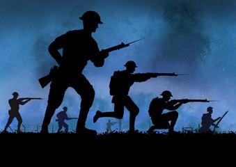 World War British soldiers silhouette on a battlefield.