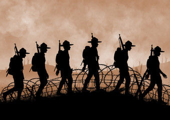 Silhouette of US soldiers on a Wolrd War one battlefield.