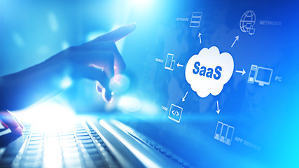 SaaS - Software as a service, on demand. Internet and technology concept on virtual screen. Wall mural