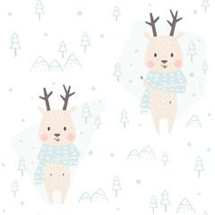 Reindeer baby winter seamless pattern. Cute animal in warm scarf Christmas background.