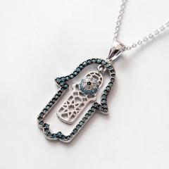 Hamsa pendant on the neck