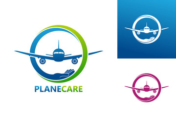 Plane Care Logo Template Design Vector, Emblem, Design Concept, Creative Symbol, Icon