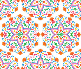 Deurstickers Marokkaanse Tegels Vector seamless embroidery pattern, decorative textile ornament, pillow or bandana decor. Bohemian handmade style background design.