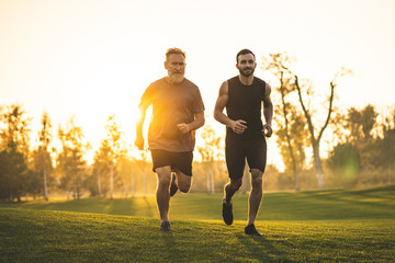 The two men running on the grass against the sunny background Wall mural