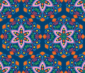Garden Poster Moroccan Tiles Vector seamless embroidery pattern, decorative textile ornament, pillow or bandana decor. Bohemian handmade style background design.