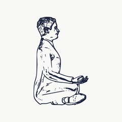 Businessman sit in meditation pose. Web icon with for application