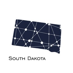 Image relative to USA travel. South Dakota state map textured by lines and dots pattern