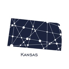 Image relative to USA travel. Kansas state map textured by lines and dots pattern