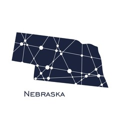 Image relative to USA travel. Nebraska state map textured by lines and dots pattern
