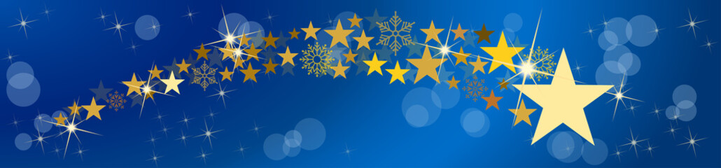 Christmas vector header. Comet and stars, with blurry light. Blue background