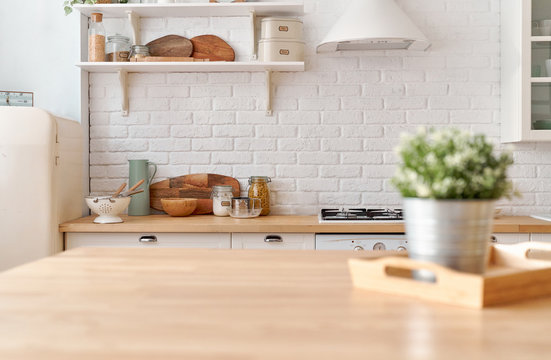 Kitchen table. Kitchen background.
