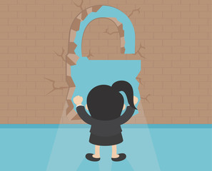 Business illustration concept businesswoman breaking the wall to her success.