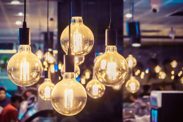 Indoor light,Vintage luxury beautiful retro edison light lamp decor at restaurant.