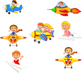 Cartoon children playing plane toys collection set