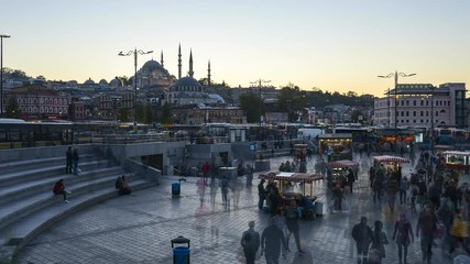 Wall Mural - Istanbul skyline, Turkey timelapse Rustem Pasha Mosque day to night time lapse in Istanbul, Turkey