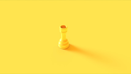 Yellow Chess Rook Piece 3d illustration 3d rendering