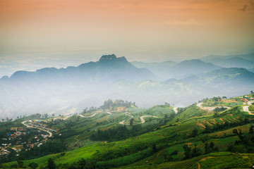 The morning atmosphere on mountain; north, THAILAND.