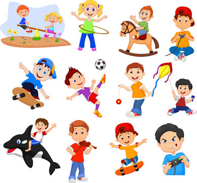 Cartoon kids with different hobbies on a white background