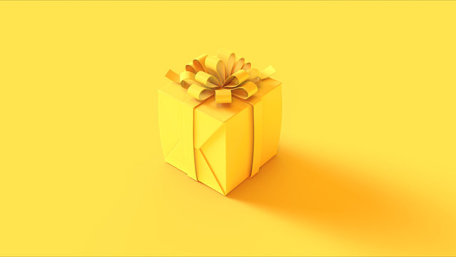 Yellow Wrapped Present Gift with a Bow 3d illustration 3d rendering