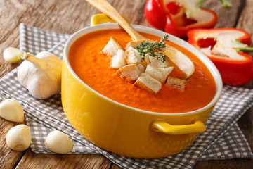 Homemade vegetarian bell pepper soup with croutons and herbs close-up. horizontal