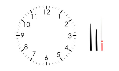 Blank clock face mock up with hour, minute and second hands, isolated on white background. Vector illustartion