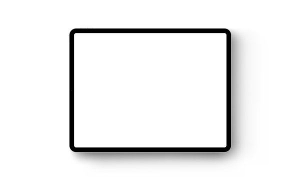Black tablet computer horizontal mock up - front view. Vector illustration