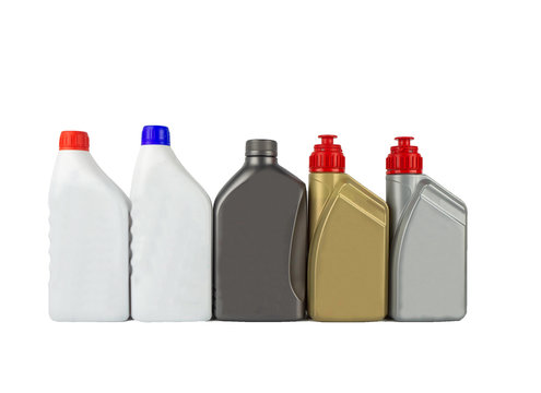 Many kind of lubricant, Plastic bottles from motorcycle oils isolated on white background