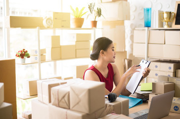 Small business asian woman owner work at home office,Start upentrepreneur SME online business