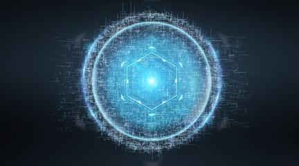 Digital sphere connection hologram 3D rendering